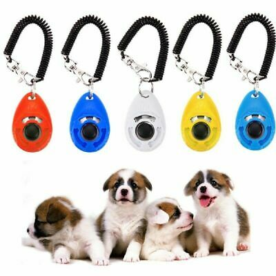 Pet Puppy Click Clicker Training Gehorsam Trainer Aid Handgelenk Strap 5 Fa I2O7
