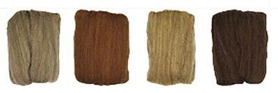 Natural Roving Wool - 4 Pack Ash Caramel Oatmeal & Chocolate