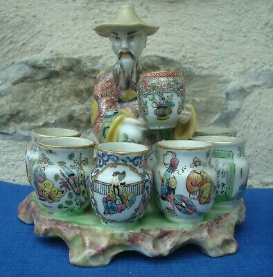 V38 Statue Marchand Epices Chinois Porcelaine BAYEUX XIXe Periode Langlois