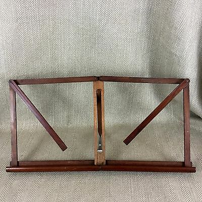 Antique Folding Book Rest Music Stand Campaign Desk Top Wooden RARE