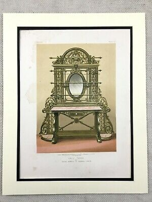 1862 Print Victorian Hall Stand Table Vanity Mirror Antique Chromolithograph