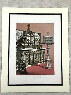 1862 Print French Church Altar Piece Iron Eagle Lectern Antique Chromolithograph
