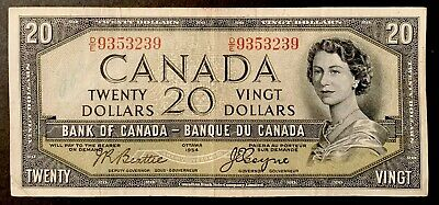 1954 - Twenty Dollar Canadian Banknote - 20$ Bank Of Canada Devil Face