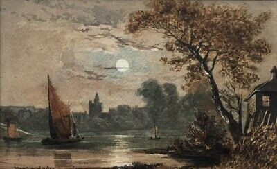 Alfred Hartley RBA Rare Antique Watercolour Painting Moonlight River Landscape