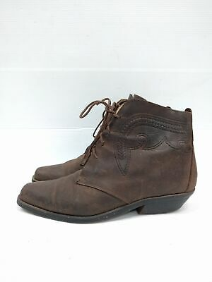Sz 38 Vintage Ladies Brown Western Cowgirl Lace up leather ankle boots