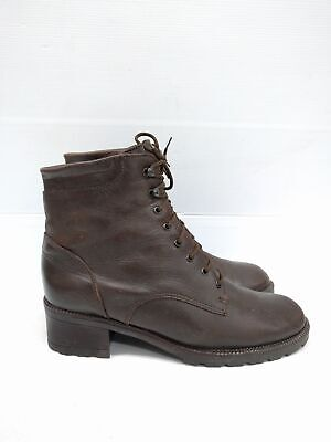 Sz 38 Vintage Ladies Brown Classic Granny lace up leather ankle boots