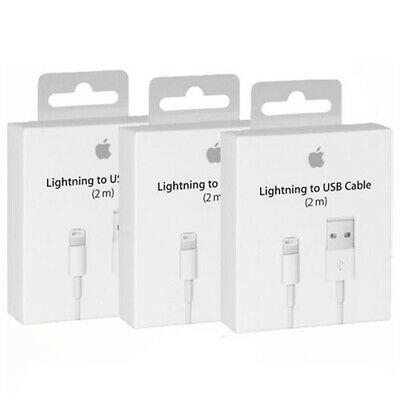 3 x 2m Genuine Apple Lightning USB Charger Cable iPhone 8 7 6 5 X XS iPad OEM
