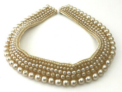 Antique Champagne Pearl Beaded Collar, Made in Japan