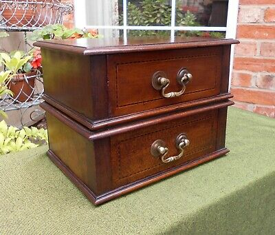 Edwardian Inlaid Mahogany Two Drawer Desk Tidy~Jewellery Box~Stationery~Storage