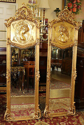 Rare Matched Pair Figural French Rococo Gilded Gold Leaf Mirrors Beveled Glass