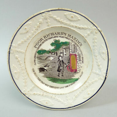 Victorian Staffordshire Pottery Childs Plate 'Poor Richard's Maxim's' C.1860