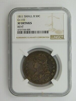 1811 Small 8 Capped Bust Half Dollar O-110 NGC Graded XF Details Bent (123)
