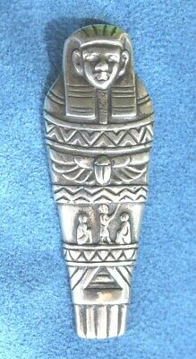 Vintage Egyptian Revival Sterling Silver Mummy Sarcophagus Pendant Necklace
