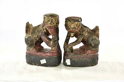 Pair Antique Chinese Red & Gilt Wooden Carved Statue Fu / Foo Dog Lion, 19th c