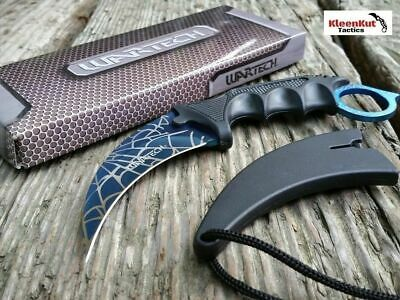 TACTICAL COMBAT NECK KNIFE KARAMBIT Hunting Survival BOWIE Blue WEB Fixed Blade