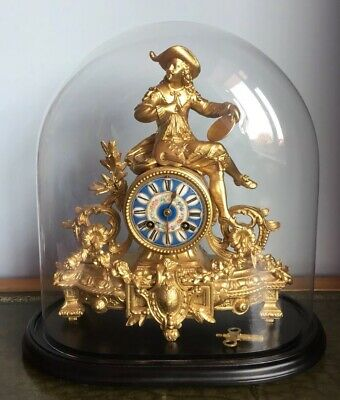 Antique 19th Century French Gilt Figural Mantle Clock Under Glass Dome