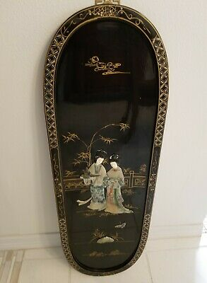 Vintage Black Lacquer Oriental Asian Wall Plaque Picture Art Mother of Pearl