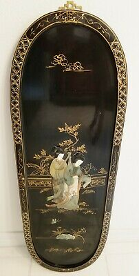 Vintage Black Lacquer  Oriental Asian Wall Plaque Picture Mother of Pearl