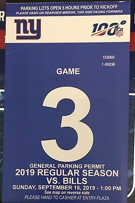 NY Giants Parking Passes - FULL Regular 2019 SEASON -ALL REGULAR SEASON GAMES