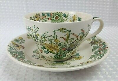 Masons Strathmore Ironstone Large 420ml Breakfast Cup & Saucer - Floral Vintage