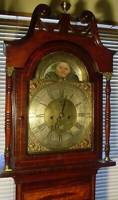 Antique   Brass  Moon Phase Dial  8 Day  Longcase / Grandfather Clock