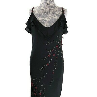 ECI Dress Womens Size 12 Black Floral Beaded Roses Spaghetti Straps Silk Blend