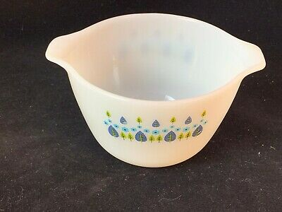 Pyrex-like Cinderella White Mixing Bowl with Green/Blue Tree/Floral Design