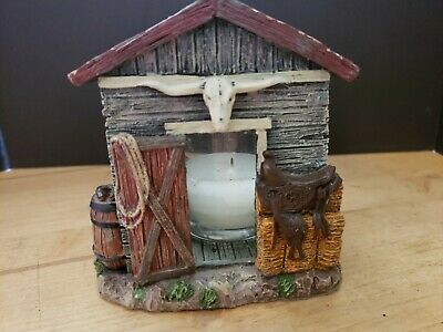 Resin Barn Themed Candleholder (small chip)