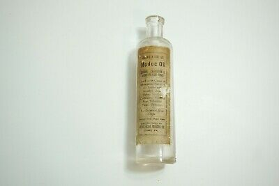 "Antique Modoc Indian Oil Quack Medicine Bottle With Good Paper Label 6.25"" Tall"