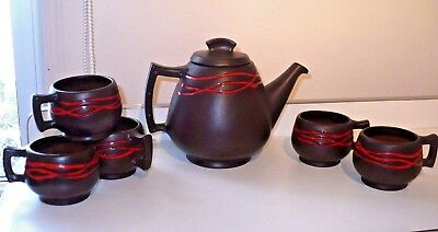Vintage Abenakis Beauce Pottery Teapot with 5 Teacups Set Quebec Canada