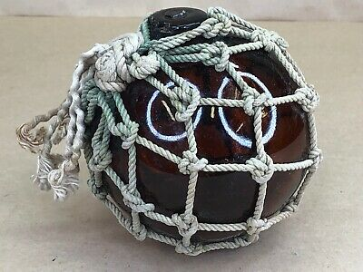 Vintage Glass Fishing Float Buoy Netted Amber 4""