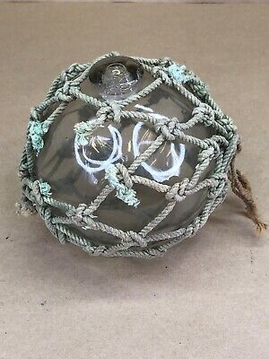 Vintage Glass Fishing Float Buoy Netted Clear 4""
