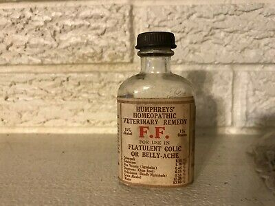 Vintage Humphrey's Homeopathic Veterinary Remedy F.f. Embossed Horse Bottle