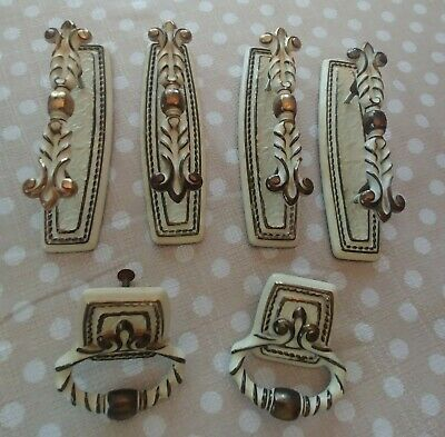 6Pc Lot Vintage Metal White Gold Drawer Pulls Handles