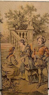 """Antique Large French Tapestry Victorian Garden Scene 50 X 26"""""""
