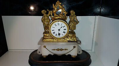 (Lot 275) Antique 19th Century French Gilt Figural Alabaster Mantle Clock