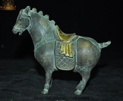 Old Chinese Feng Shui Bronze gilt Success Lucky Animal Tang horse horses Statue