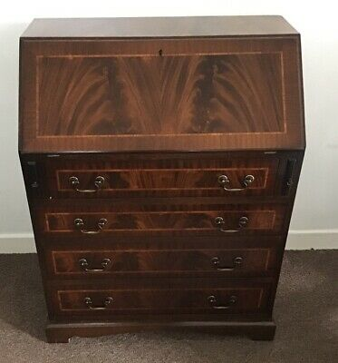 vintage mahogany, inlaid and banded writing bureau. delivery possible.