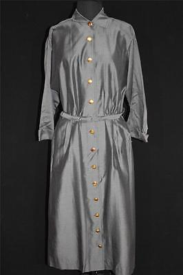 Rare Vintage Deadstock 1950'S-1960'S Polished Cotton & Rayon Grey Dress Sz 14-16