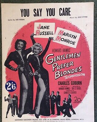 You Say You Care - Sheet Music From Gentlemen Prefer Blondes - Marilyn Monroe