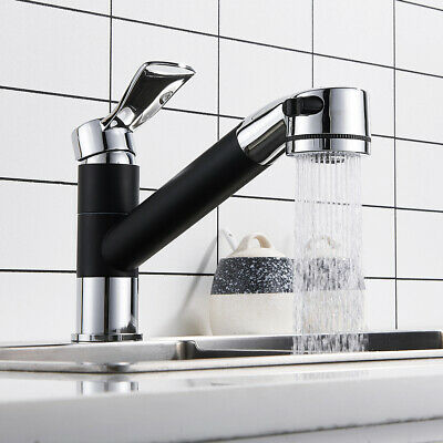 Modern Kitchen Mixer Tap with Pull Out Hose Spray Monobloc Single Lever Black
