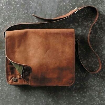 "18"" Hand-Crafted Messenger Bag Genuine Vintage Leather Satchel Briefcase Laptop"