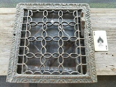 "Vtg Favorite Cast Iron Ornate Heater Grate Vent Register Cover 12 3/4"" x 12 1/2"""