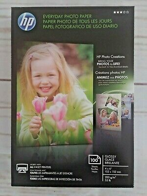 "HP Everyday Photo Paper Glossy 4"" x 6""  (100 Sheets)  Inkjet New, Free Shipping"