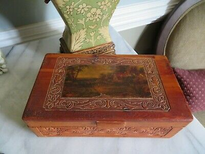 Vintage Hand Made Carved Wood Men's Jewelry Keepsake Box with Cottage Scene