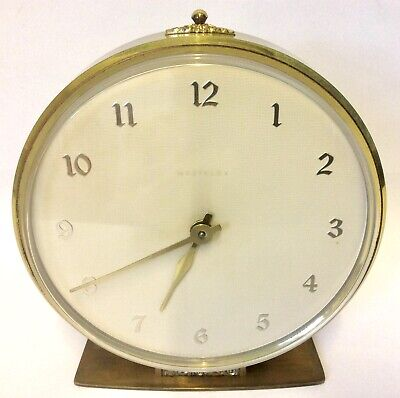 Vintage Westclox Clock Mantle Clock Wind Up Brass Clock Working Made in Scotland