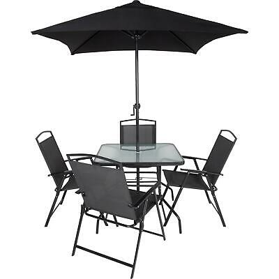 Outdoor Garden Patio Furniture Set Charcoal 4 Chairs And Table With Parasol