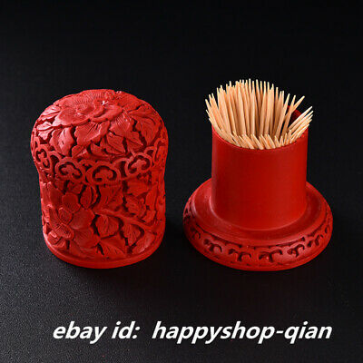 Chinese Style Red Lacquerware Carving Tree Peony Flower Toothpick Box Home Decor