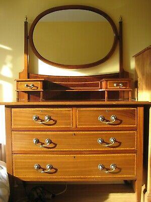 Excellent Maple and Co inlaid Edwardian satin mahogany dressing table