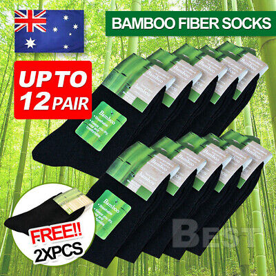 12X Pairs Mens Bamboo Fibre Socks Odor Resistant Sweat Black Natural Fiber Work